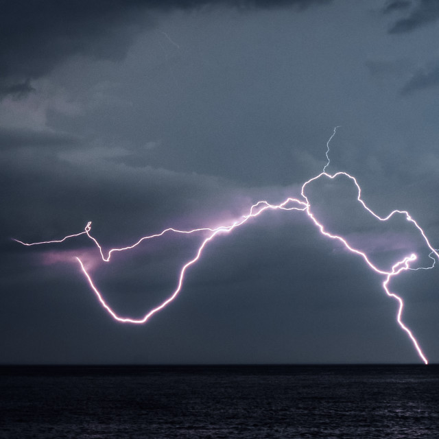 """Lightning Strike over Lake Superior"" stock image"