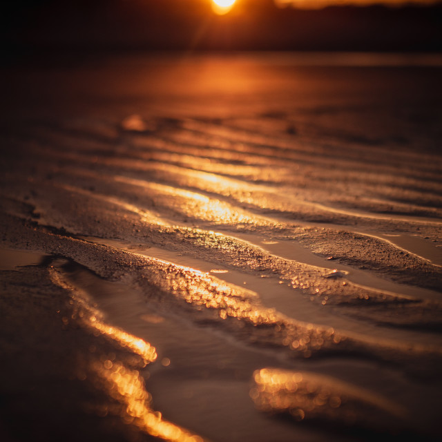 """Beach Sand Current Ripples at Sunset"" stock image"