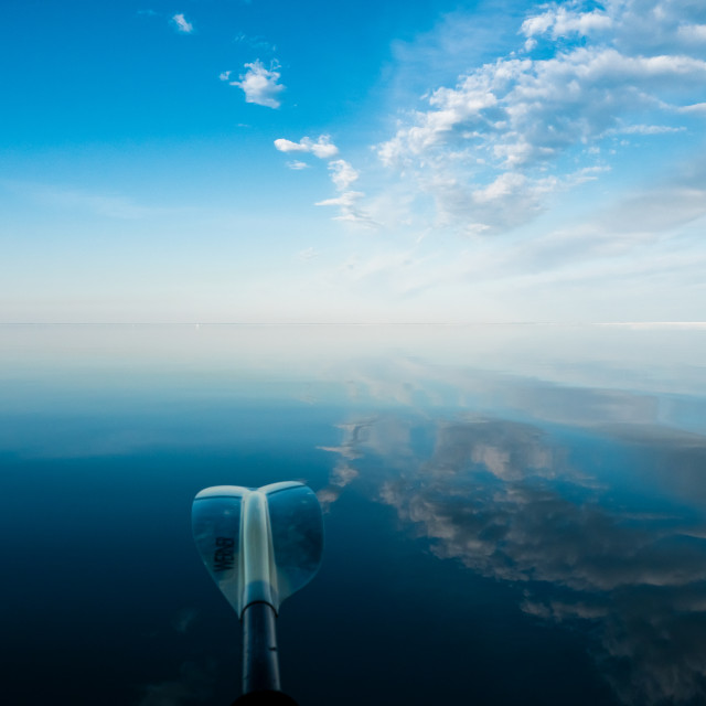 """Reflections on a Lake Superior Paddle"" stock image"