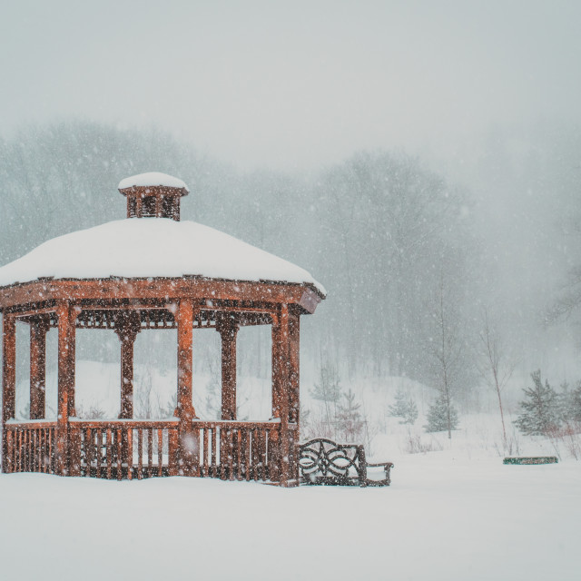 """Pavilion in snowy landscape"" stock image"