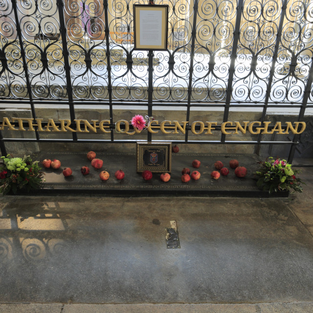 """Katherine of Aragon Grave, Interior of Peterborough City Cathedral,..."" stock image"