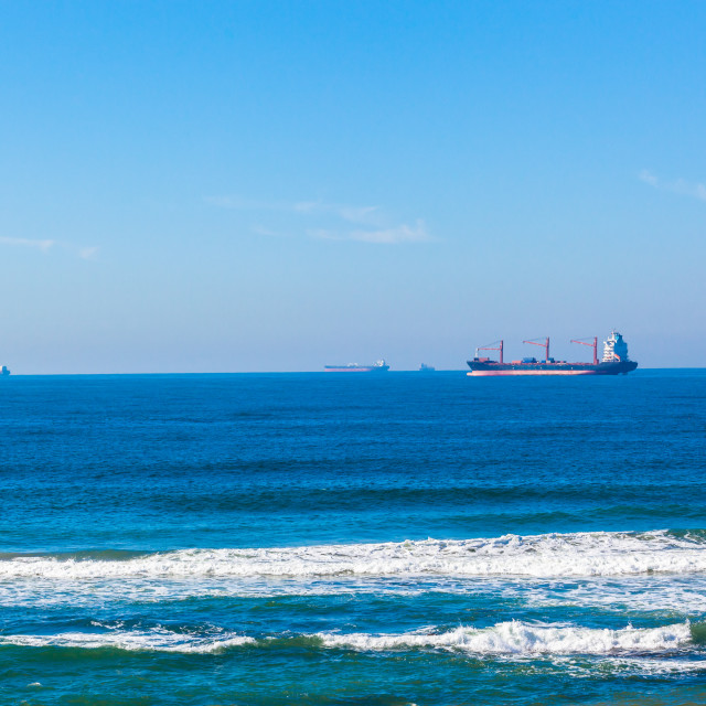 """Ships Ocean Anchored Port Entry"" stock image"