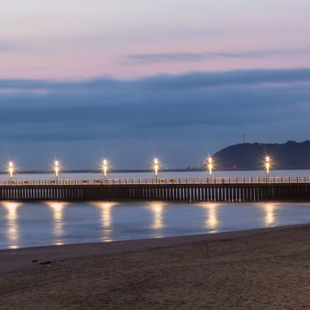 """Beach Pier Ocean Lights Reflections Durban"" stock image"