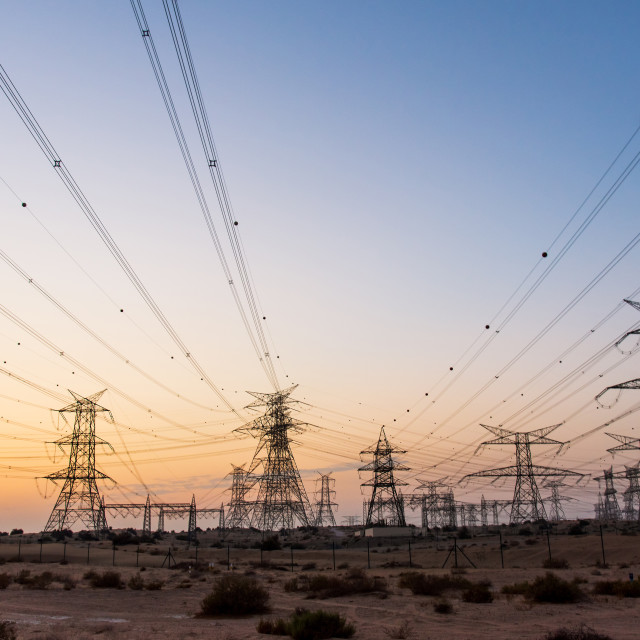 """""""Electricity overhead power lines in the desert"""" stock image"""