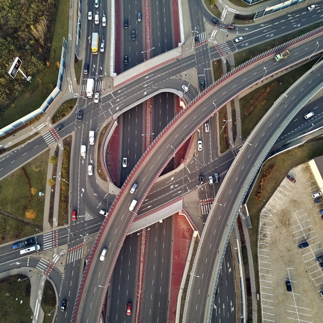 """""""Beautiful panoramic aerial drone view to the Aleje Jerozolimskie street viaduct located in Warsaw, Poland"""" stock image"""