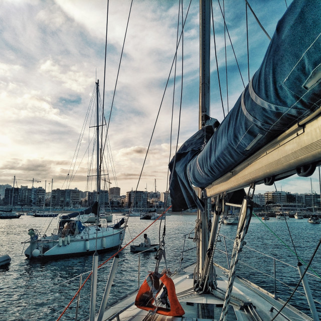 """""""sailboats waiting at the anchorage for the atlantic ocean crossing race regatta ARC 2018"""" stock image"""