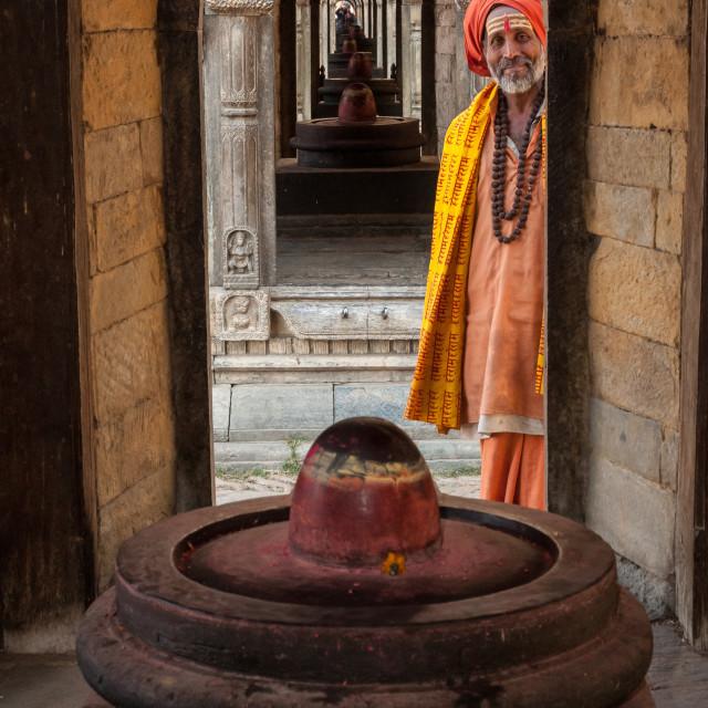 """Sadhu at Pashupatinath Temple, Kathmandu"" stock image"
