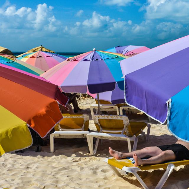 """Beach umbrellas - Isla Mujeres, Mexico"" stock image"