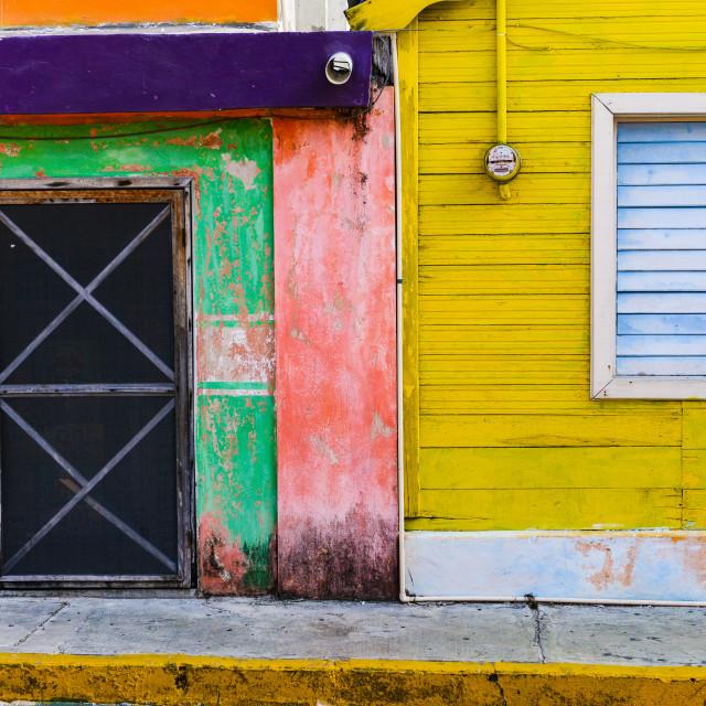 """Colorful facade - Isla Mujeres, Mexico"" stock image"