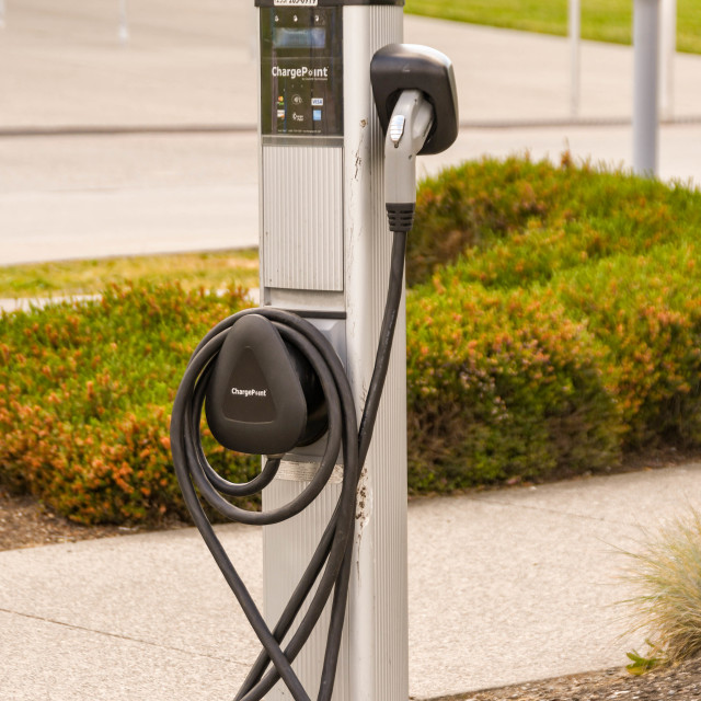 """""""Electric charging point for cars"""" stock image"""