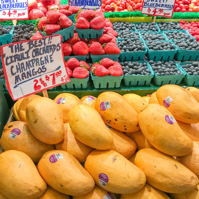 """Fresh fruit on sale in Pike Place Market, Seattle"" stock image"
