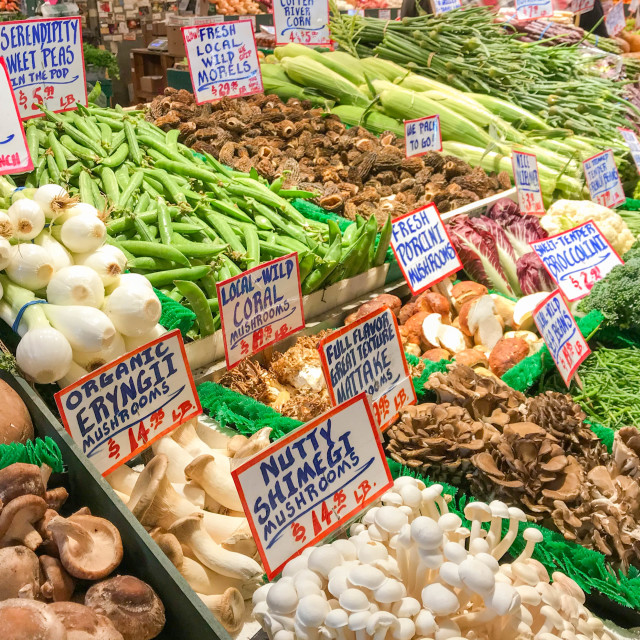 """Fresh vegetables on sale in Pike Place Market, Seattle"" stock image"