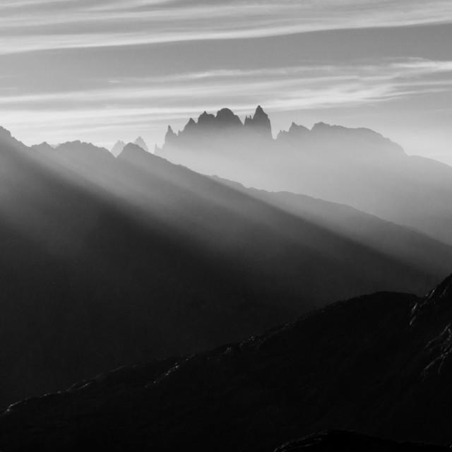 """""""Mountains Through Smoke"""" stock image"""