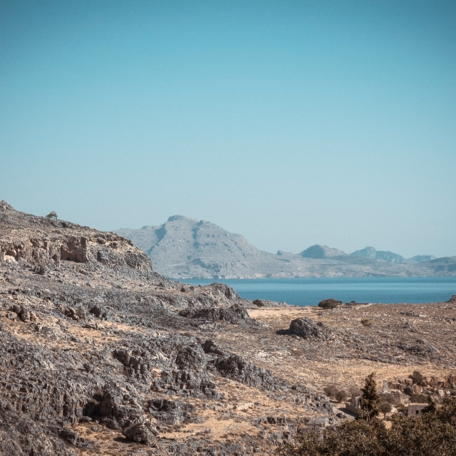 """""""Rocks and hills on Rhodes island near Lindos town"""" stock image"""
