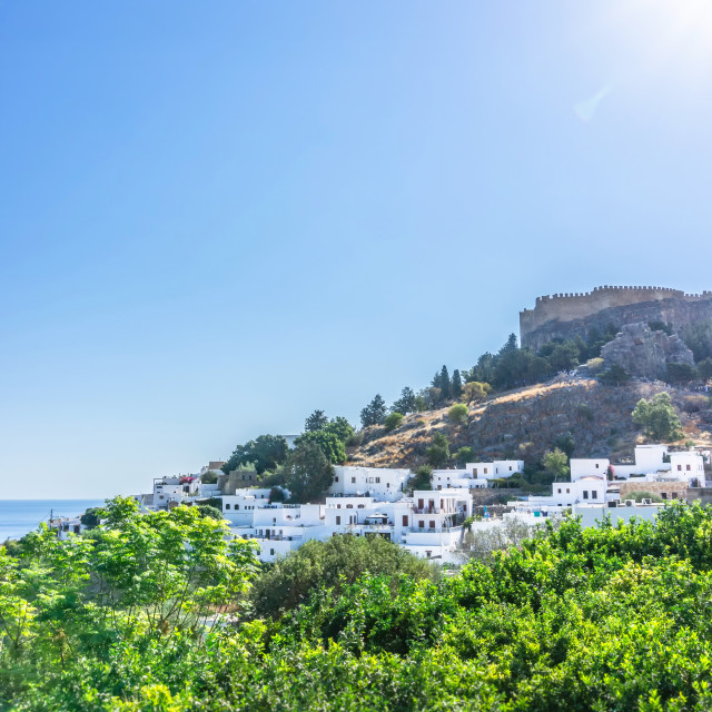"""""""Famous Lindos town on the Rhodes island"""" stock image"""