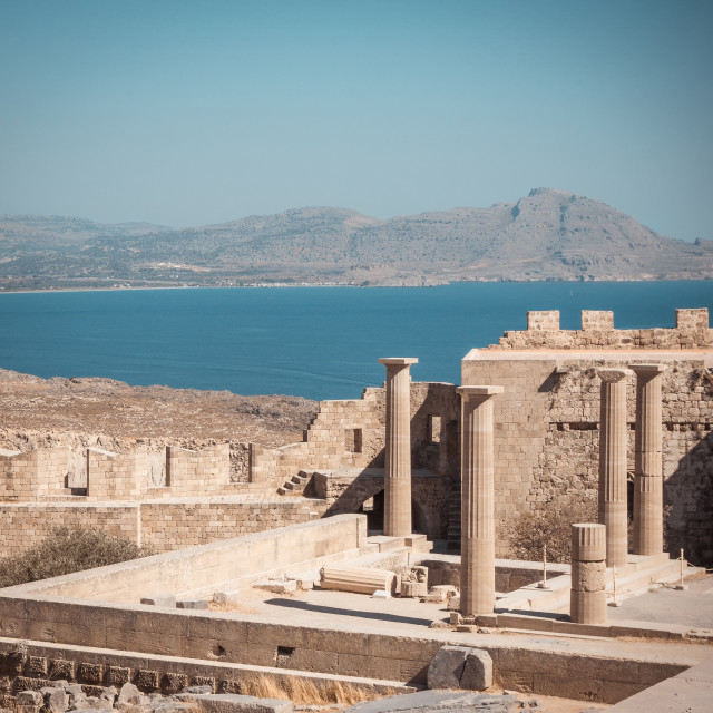 """""""View on several pillars of Lindos Acropolis on Rhodes"""" stock image"""