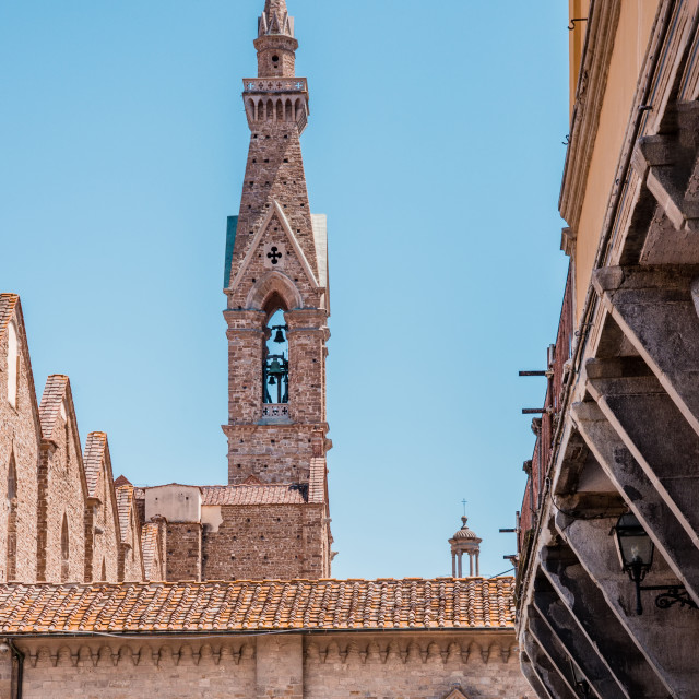 """""""High narrow tower with bell in the Florence town"""" stock image"""