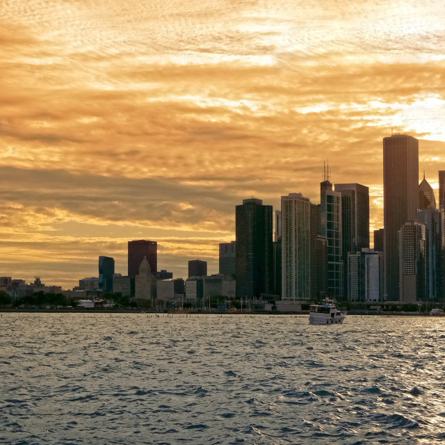 """""""Chicago Downtown Skyline at Sunset in Chicago, Illinois"""" stock image"""
