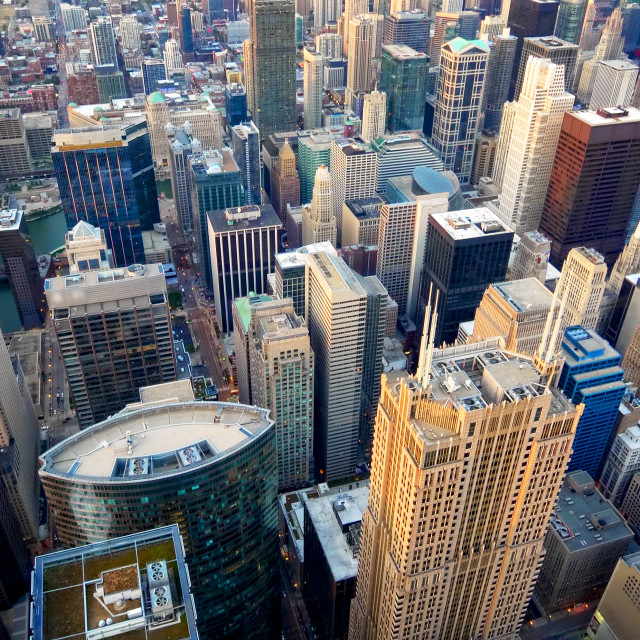 """""""Aerial View of Chicago City Skyline and Lake Michigan (logos blurred)"""" stock image"""