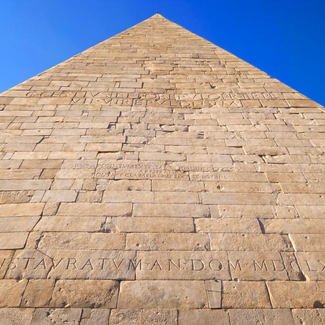 """Pyramid of Cestius in Rome, Italy"" stock image"