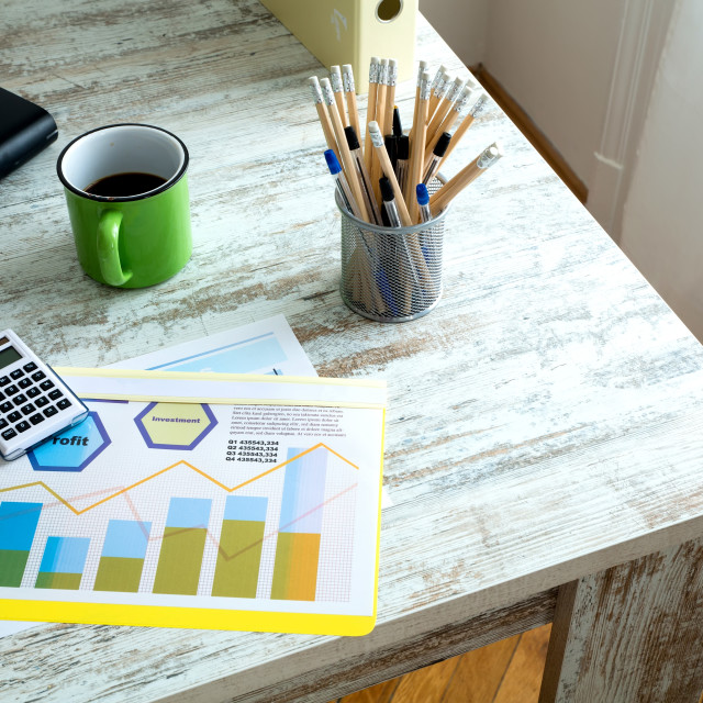 """""""Business calculation in the office"""" stock image"""