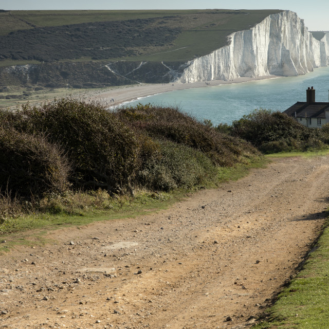 """""""Seaford Head, with a view along the Seven Sisters"""" stock image"""