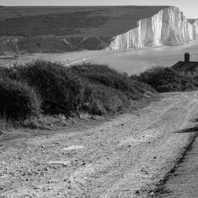 """""""Seaford Head, with a view along the Seven Sisters in Black and White"""" stock image"""