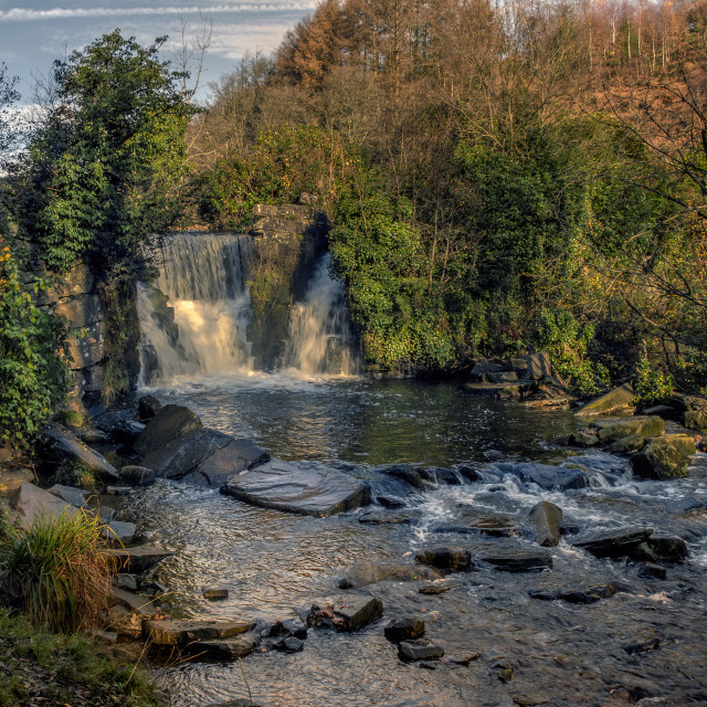 """""""Lovely waterfall in Penllergaer Valley Woods"""" stock image"""