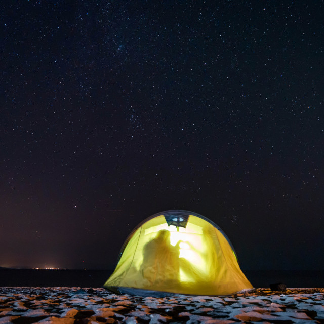 """""""Couple in a yellow tent"""" stock image"""