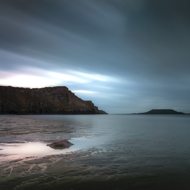 """Rhossili Bay and Worms head"" stock image"