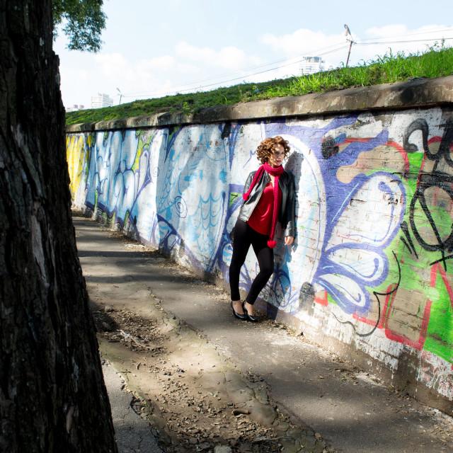 """Gorgeous woman posing with graffiti"" stock image"
