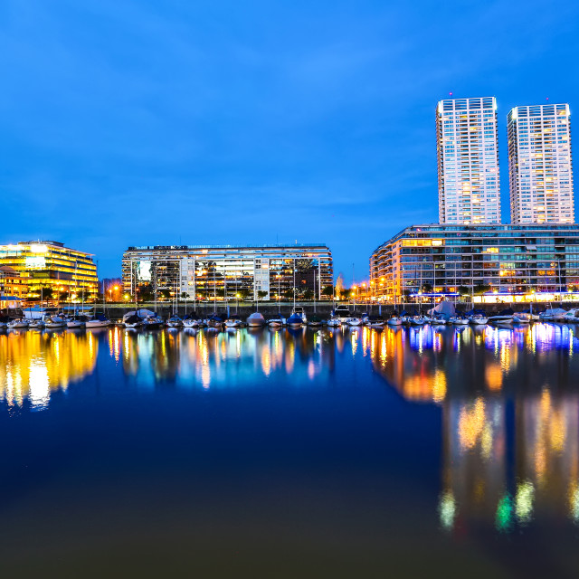 """Puerto Madero in Buenos Aires at night"" stock image"