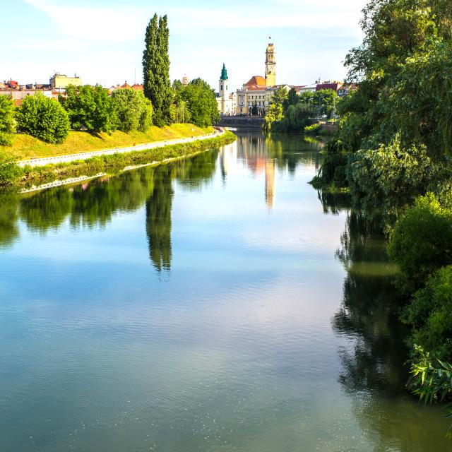 """The River Crisul Repede flowing through Oradea"" stock image"
