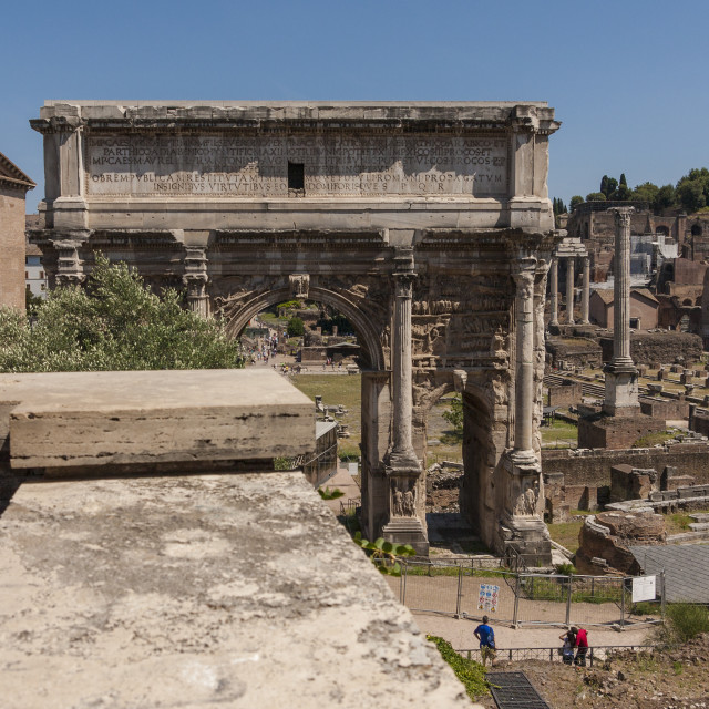 """""""View of the Roman Forum in Rome"""" stock image"""