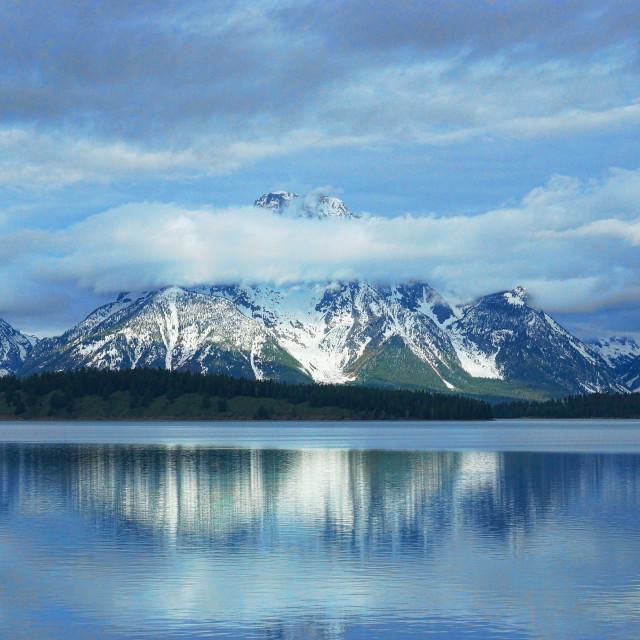 """""""Mt Moran full of clouds"""" stock image"""