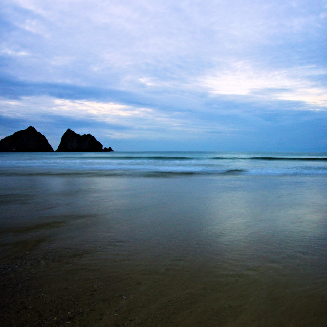 """Holywell Bay at Dusk."" stock image"