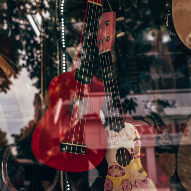 """Classical Guitars For Sale at a Music Shop"" stock image"