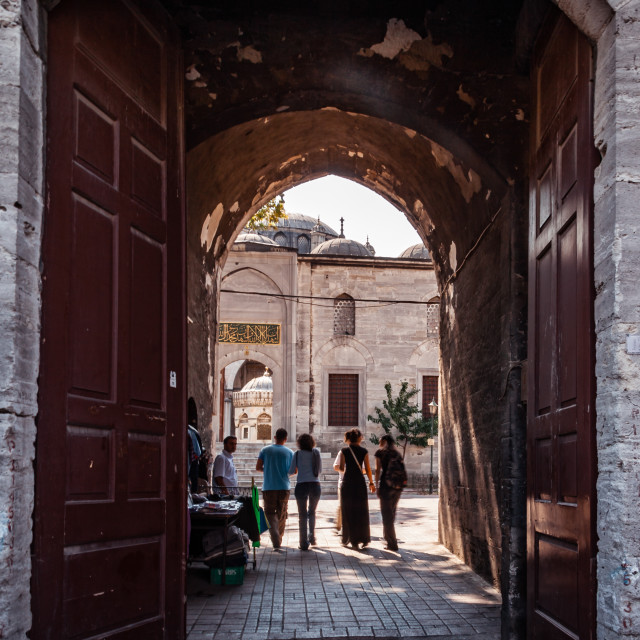 """Tourists near Mihrimah Sultan Mosque in Uskudar, Istanbul"" stock image"