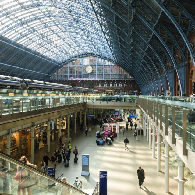 """St Pancras, historic Victorian gothic railway station, London, England,..."" stock image"