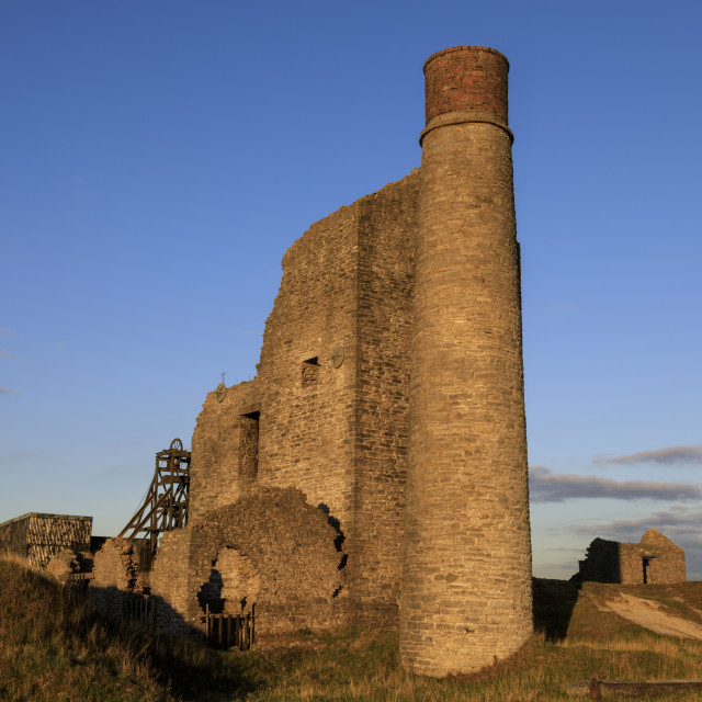 """Cornish Engine House, Magpie Mine, historic lead mine, National Monument,..."" stock image"