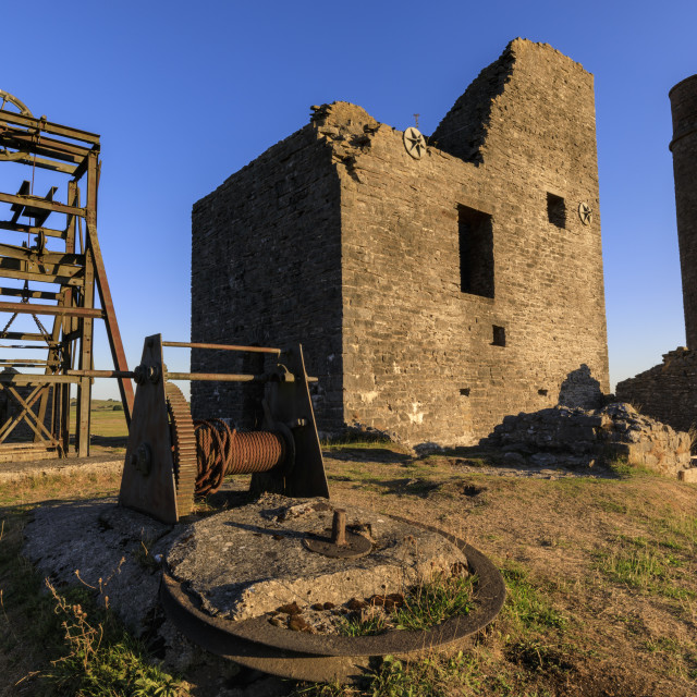 """Cornish Engine House and Winding Gear, Magpie Mine, historic lead mine,..."" stock image"