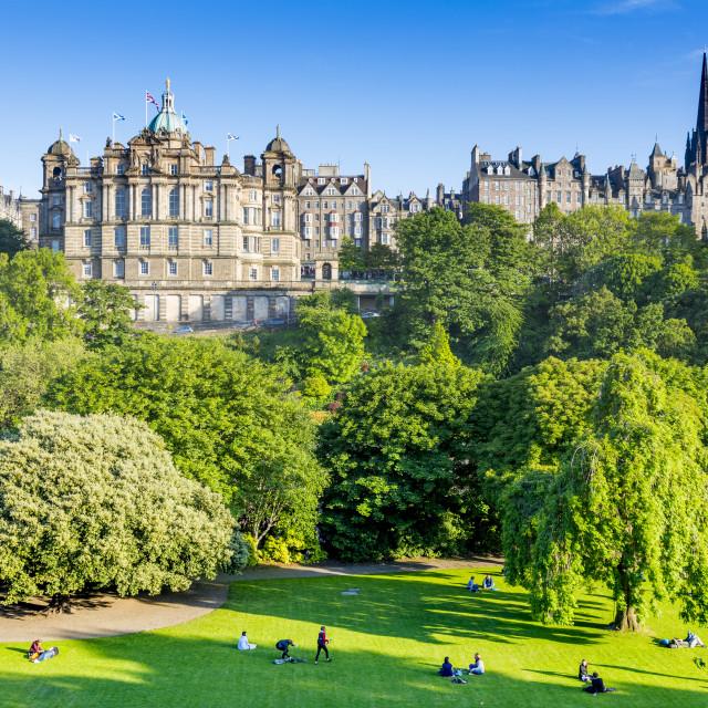 """Princes Street Gardens and The Mound, Edinburgh, Scotland, United Kingdom,..."" stock image"