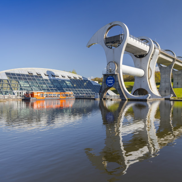 """""""The Falkirk Wheel, Forth and Clyde Canal with Union Canal, Falkirk, Scotland,..."""" stock image"""