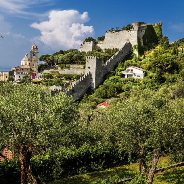 """The Doria castle,Portovenere, Liguria, Italy"" stock image"