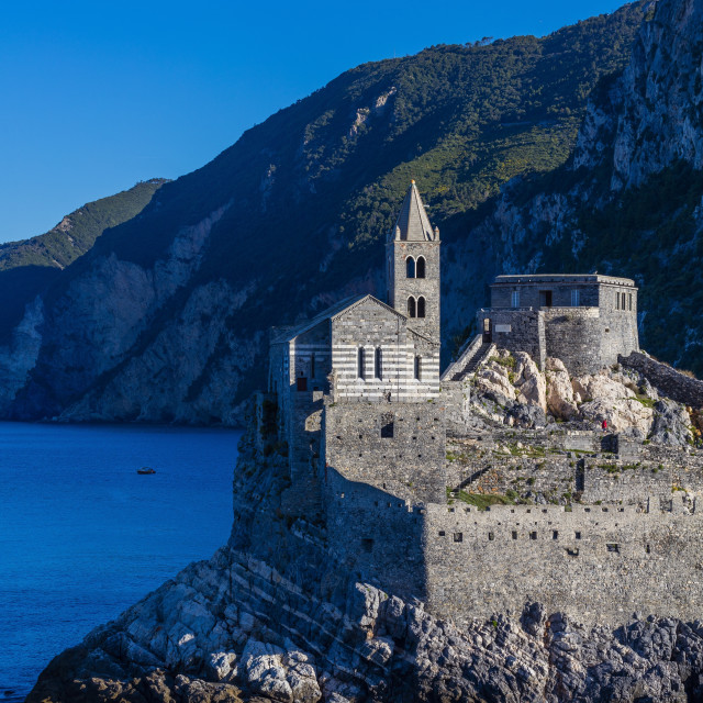 """""""Island of Palmaria,View of Portovenere from Palmaria, to the Church of San..."""" stock image"""