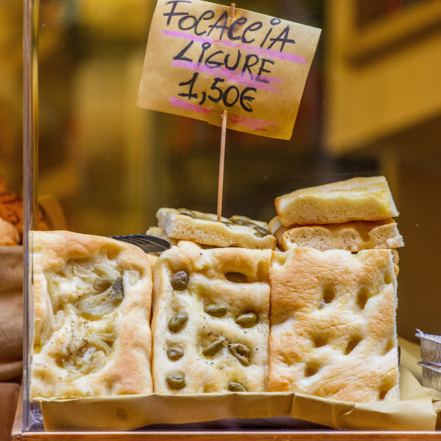 """Ligurian focaccia,Portovenere, Liguria, Italy."" stock image"