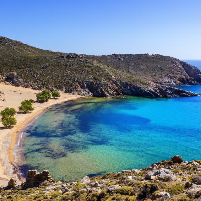 """Psili Ammos beach, Patmos, Dodecanese, Greece"" stock image"