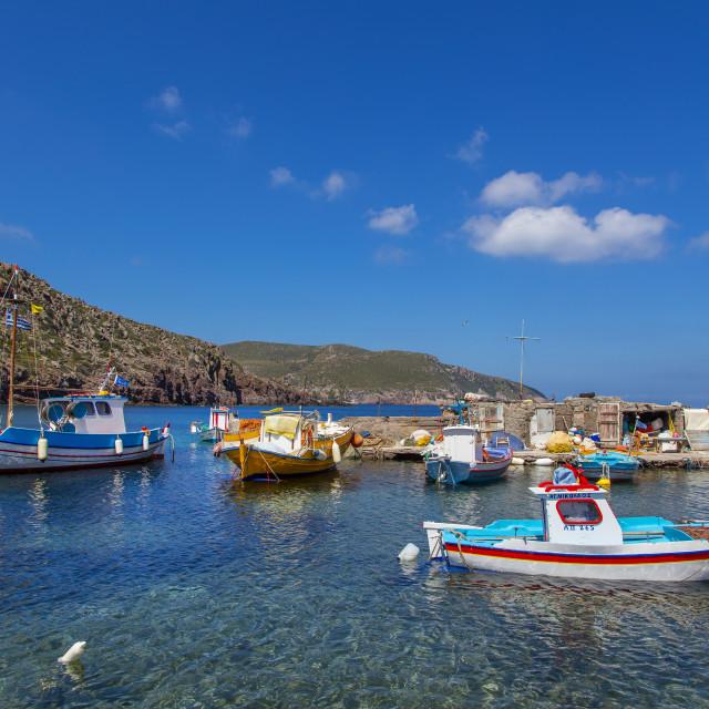 """Livadi Kalogiron Beach, Patmos, Dodecanese, Greece"" stock image"