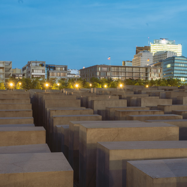 """""""Jewish memorial with the Postdamer Platz building seen on the background"""" stock image"""