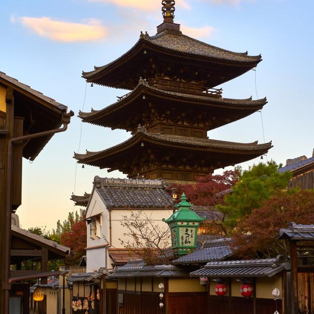 """""""Yasaka Pagoda & Sannen Zaka Street in the morning in Higashiyama, Kyoto."""" stock image"""